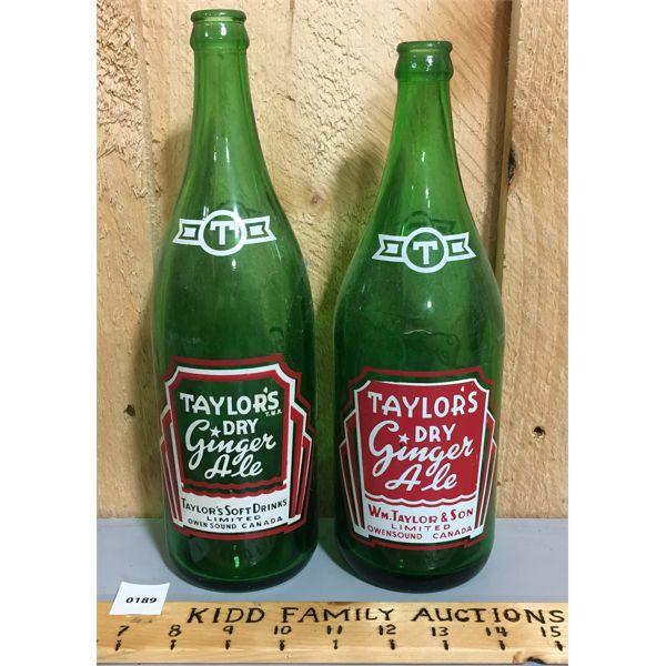 2 x TAYLOR'S DRY GINGER ALE BOTTLES; OWEN SOUND