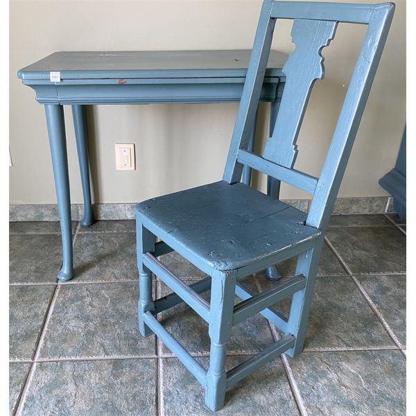 """SMALL PAINTED ANTIQUE DESK & CHAIR - 19"""" X 31"""" X 28"""""""