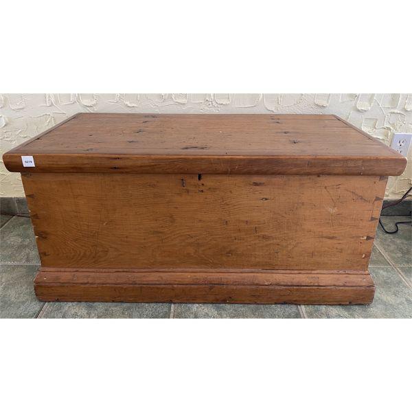 "ANTIQUE PINE BLANKET BOX - DOVETAILED - 16"" X 19"" X 36"""