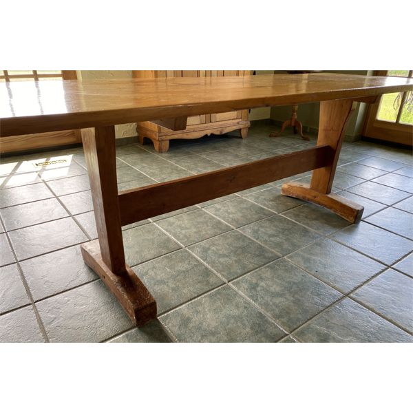 PINE HARVEST TABLE - 34 INCHES X 7 FOOT & 1 INCH THICK.