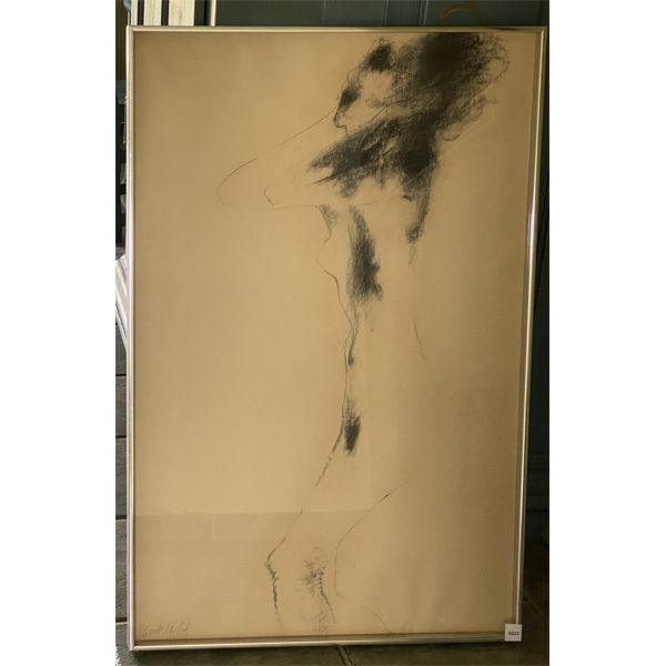 """FRAMED CHARCOAL ON PAPER - 1964 - 23"""" X 35"""" - SIGNED"""