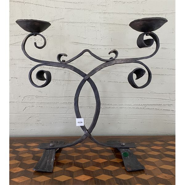 """WROUGHT IRON DOUBLE CANDLE HOLDER - 16"""" TALL"""