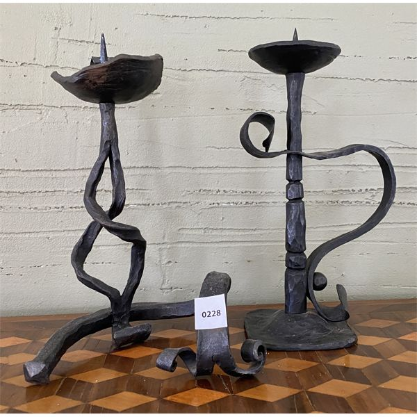 """WROUGHT IRON SET OF CANDLE HOLDERS - 12"""" TALL"""
