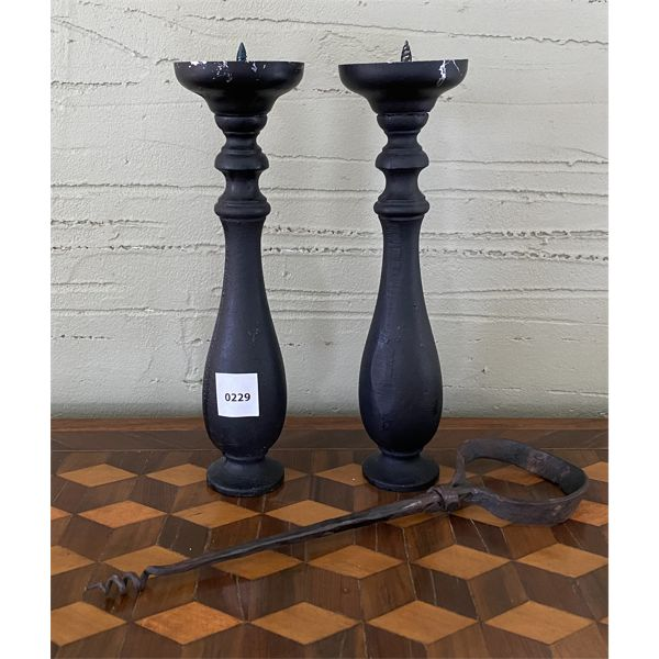 """WROUGHT IRON SET OF CANDLE HOLDERS & FIRE POKER - 10"""" TALL"""
