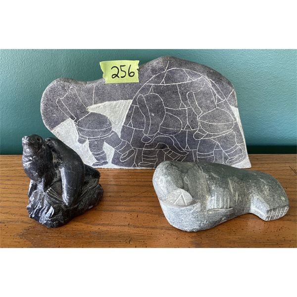 LOT OF 3 - SOAPSTONE CARVINGS