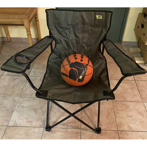 LOT OF 2 - CAMP CHAIR & BASKETBALL
