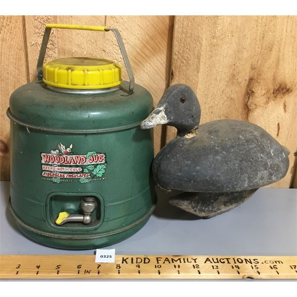 LOT OF 2 - SIGNED DUCK DECOY AND WOODLAND JUG INSULATED CONTAINER