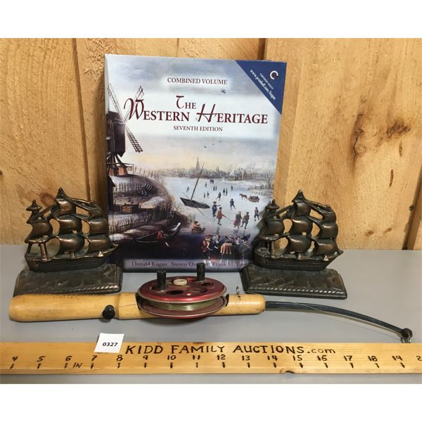 LOT OF 3 - WESTERN HERITAGE BOOK, BOOKENDS AND ICE FISHING ROD