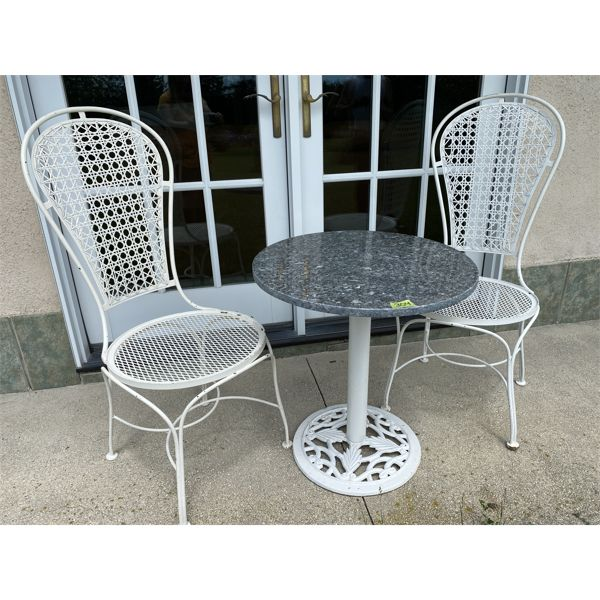 WROUGHT IRON & MARBLE PATIO SET - TABLE & 2 CHAIRS
