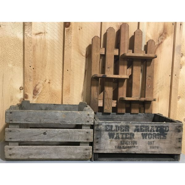 LOT OF 3 WOODEN HOUSEHOLDS; KINGSTON, ON. CRATE, ETC.