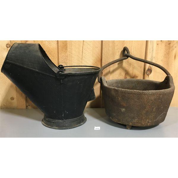 COAL SCUTTLE & CAST IRON POT - 55 LBS; LOT OF 2