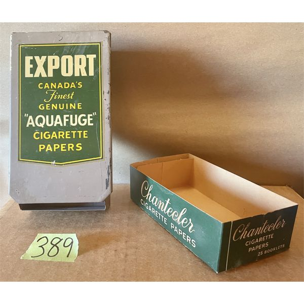 LOT OF 2 - CIGARETTE PAPERS HOLDERS - EXPORT TIN & CHANTECLER BOX