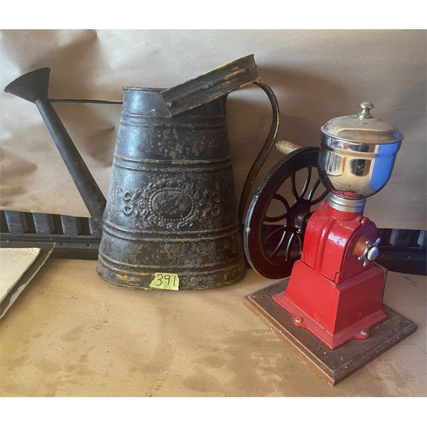 LOT OF 2 - VINTAGE WATERING CAN & REPRO 11 INCH COFFEE GRINDER