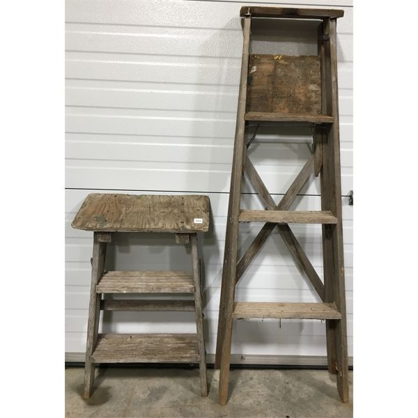 LOT OF 2 - WOODEN STEP LADDERS