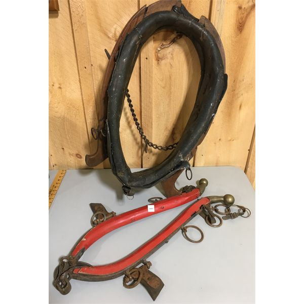 LOT OF HORSE HAMES AND LEATHER COLLAR