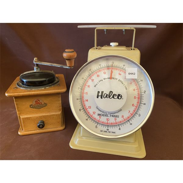 LOT OF 2 - COUNTER SCALE & COFFEE GRINDER