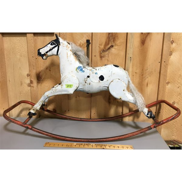 ANTIQUE TIN ROCKING HORSE