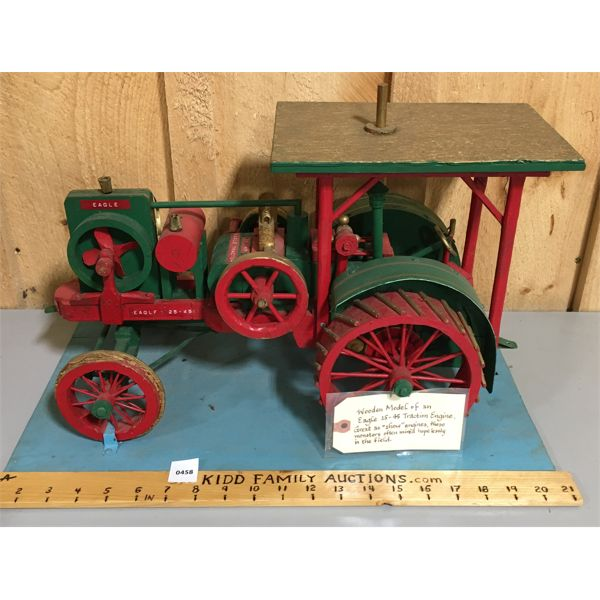 WOODEN MODEL OF EAGLE 25-45 TRACTOR - APPROX 20 INCHES