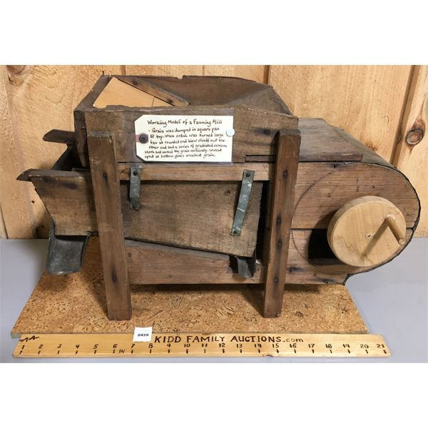 FUNCTIONING WOODEN MODEL OF A FANNING MILL - APPROX 22 INCHES