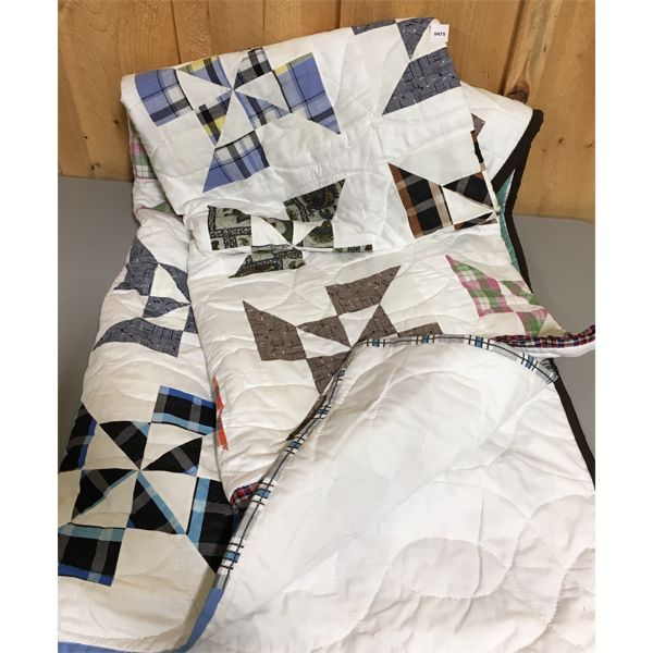 HAND MADE QUILT - UN USED - APPROX 100 X 132 INCHES