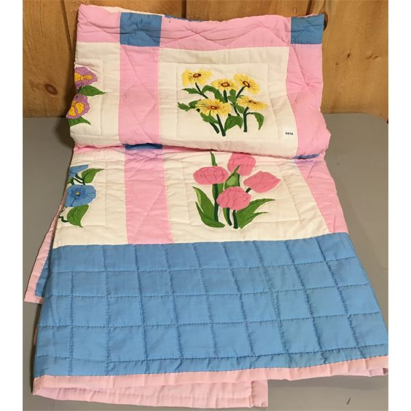 HAND MADE QUILT - UN USED - APPROX 58 X 66 INCHES