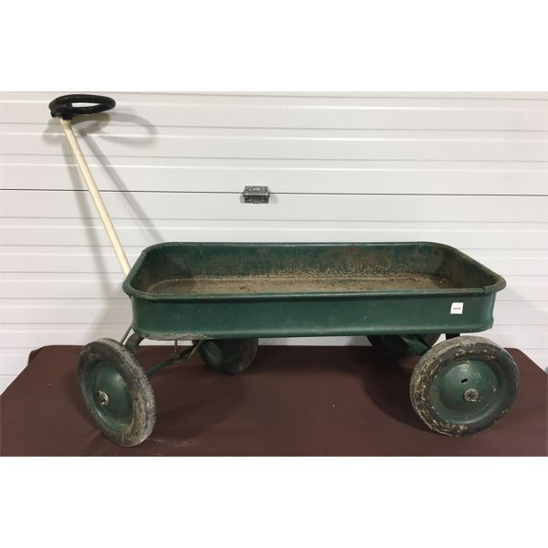 GREEN METAL WAGON - APPROX 36 INCHES