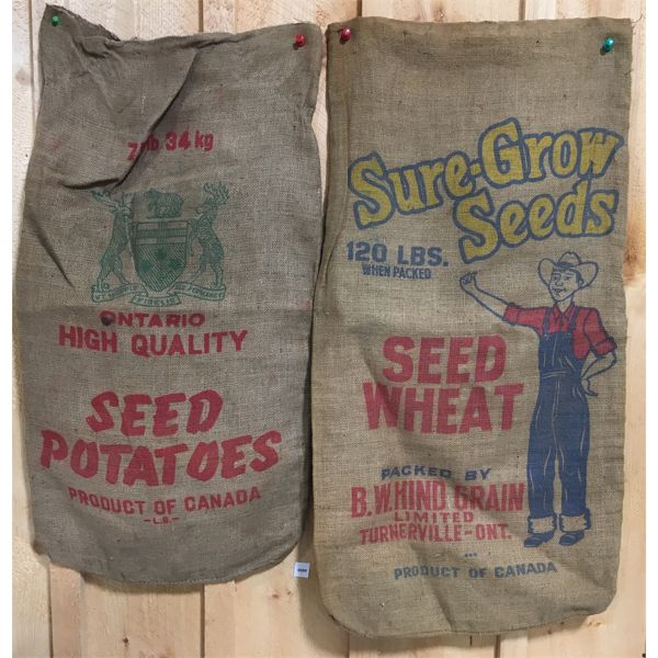 LOT OF 2 - BURLAP SACKS - SURE-GROW SEEDS & SEED POTATOES - APPROX 22 X 38 INCHES