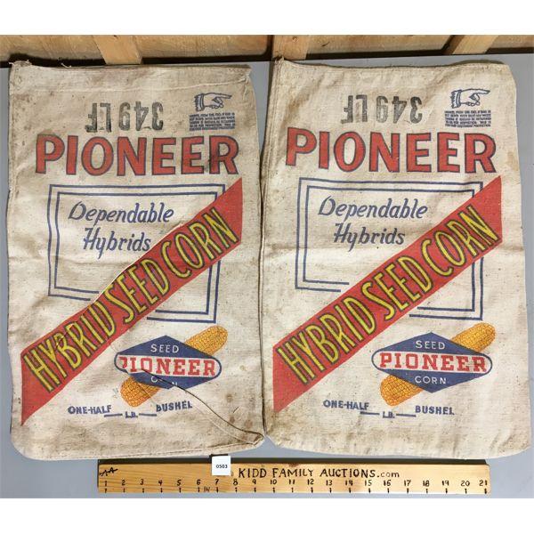 LOT OF 2 - CANVAS SEED SACKS - PIONEER CORN