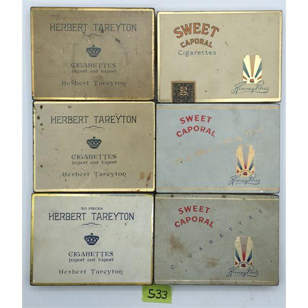 LOT OF 6 - FLAT FIFTIES CIGARETTE TINS - HERBERT TAREYTON & SWEET CAPORAL