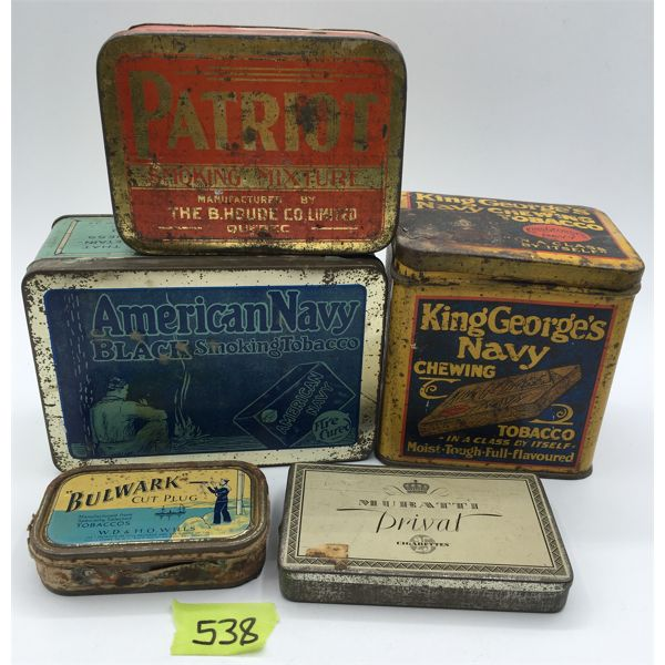 LOT OF 5 - TOBACCO TINS - PATRIOT, AMERICAN NAVY, KING GEORGE'S NAVY, ECT.