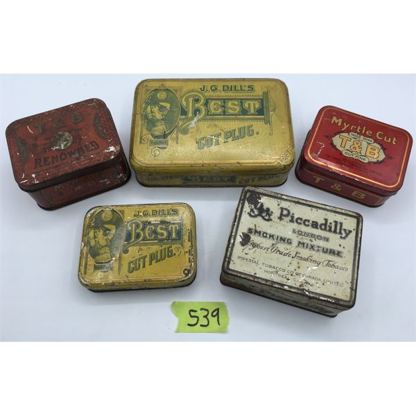 LOT OF 5 - TOBACCO TINS - T&B, DILL'S BEST, AND PICCADILLY