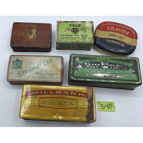 LOT OF 6 - TOBACCO TINS - MILLBANK, CRAVEN, CLUBB'S, YALE, ECT.
