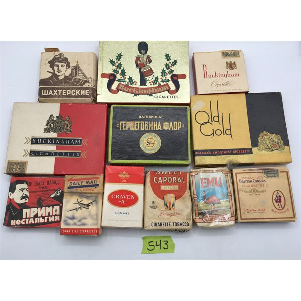 JOB LOT - CARDBOARD AND PAPER CIGARETTE AND TOBACCO PACKS