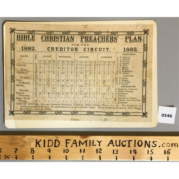1882 BIBLE CHRISTIAN PREACHERS' PLAN FOR THE CREDITON CIRCUIT
