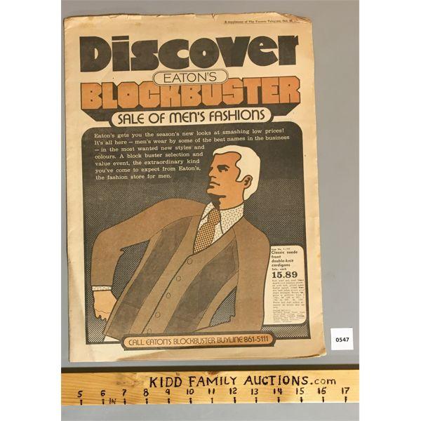 EATON'S NEWSPAPER ADVERTISMENT FOR BLOCKBUSTER MEN'S FASHION SALE