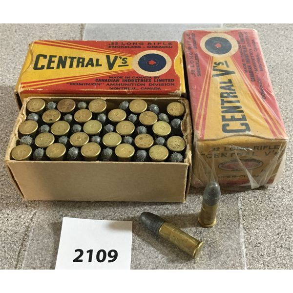 100 X CIL CENTRAL V's .22 LR - COLLECTIBLE BOXES