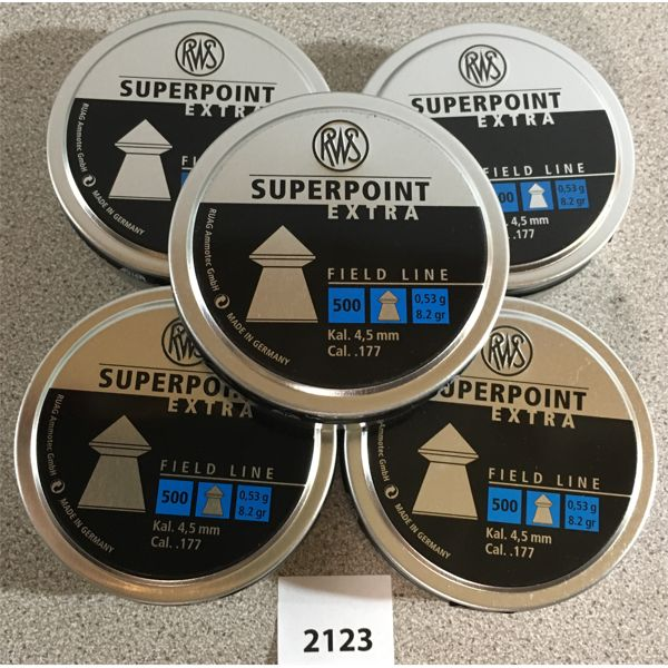 LOT OF 5 - RWS SUPERPOINT .177 CAL PELLETS - 500 / TIN - NEW