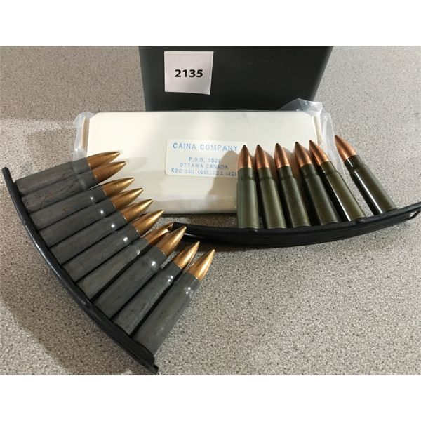286 RNDS 7.62 X 39 FMJ AMMO ON STRIPPER CLIPS IN PLASTIC CASE