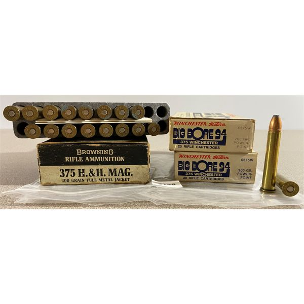56 X WINCHESTER / BROWNING .375 H&H MAG 200 & 300 GR FMJ