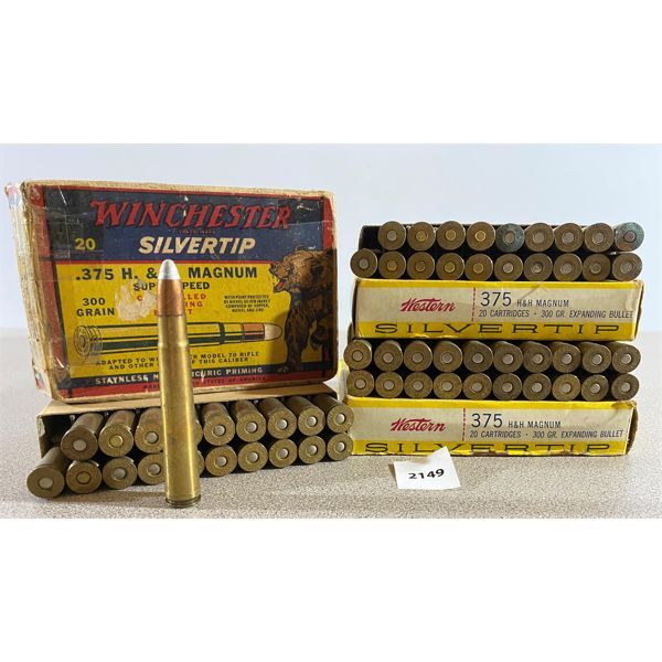 59 X WINCHESTER / WESTERN .375 H&H MAG 300 GR - COLLECTIBLE BOX