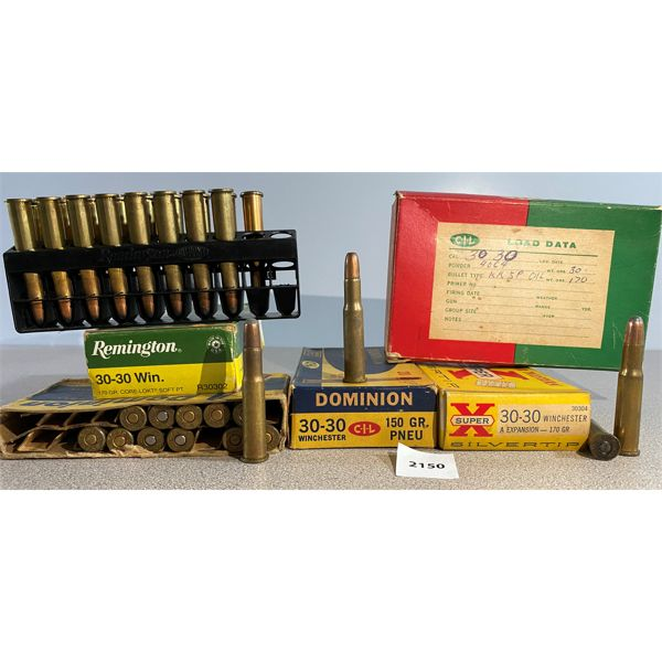 APPROX 89 X .30-30 WIN 150 & 170 GR - SOME RELOADS