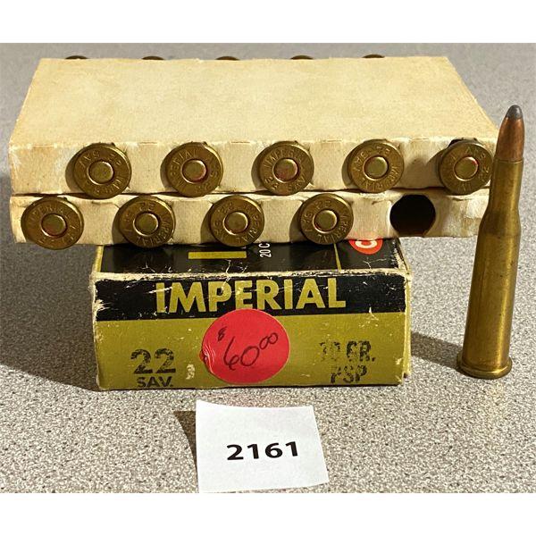 10 X IMPERIAL .22 SAVAGE 70 GR