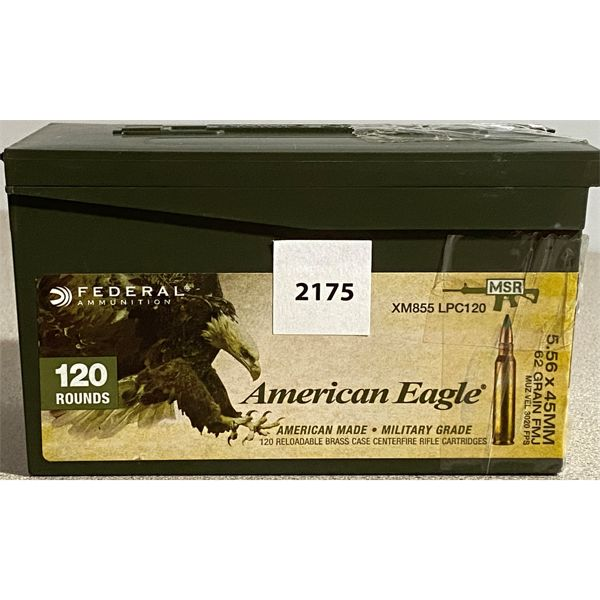 120 X FEDERAL 5.56 X 45 MM IN PLASTIC AMMO BOX