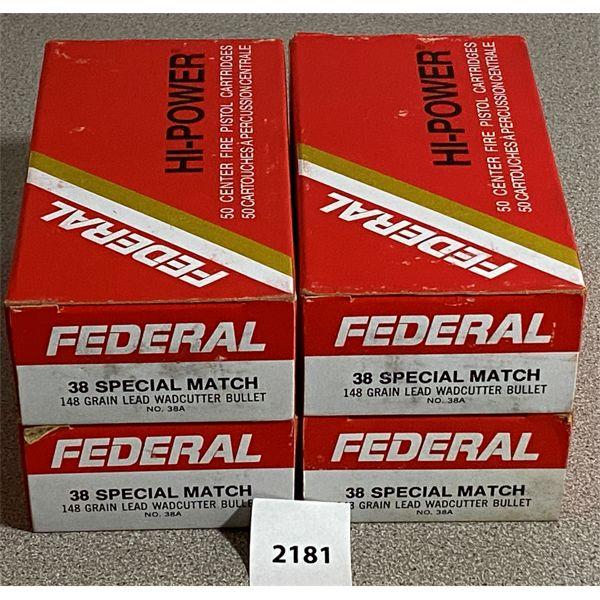 200 X FEDERAL .38 SPL MATCH 148 GR WADDERCUTTER