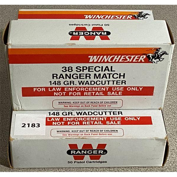 200 X WINCHESTER .38 SPL RANGER MATCH 148 GR - RCM POLICE