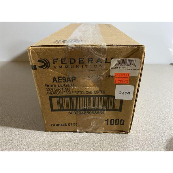 CASE OF 1000 RNDS FEDERAL 9 MM LUGER 124 GR - UNOPENED