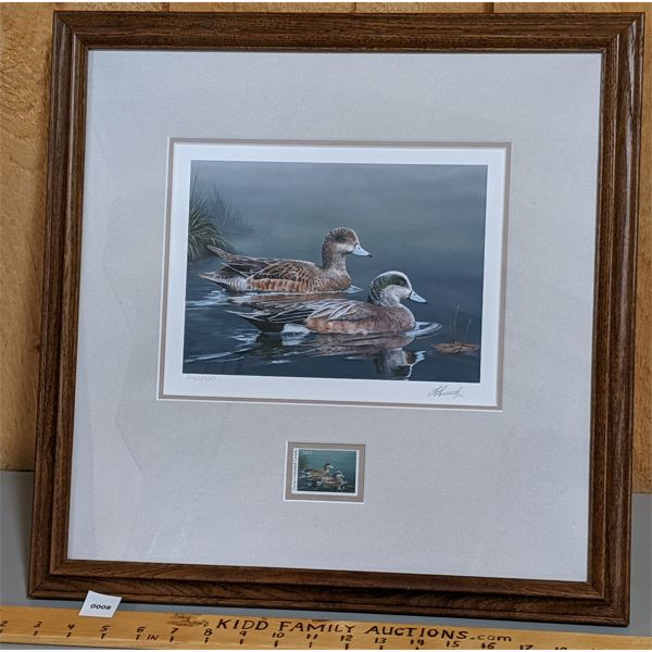 FRAMED DUCK PRINT AND STAMP - 18 X 18 INCHES