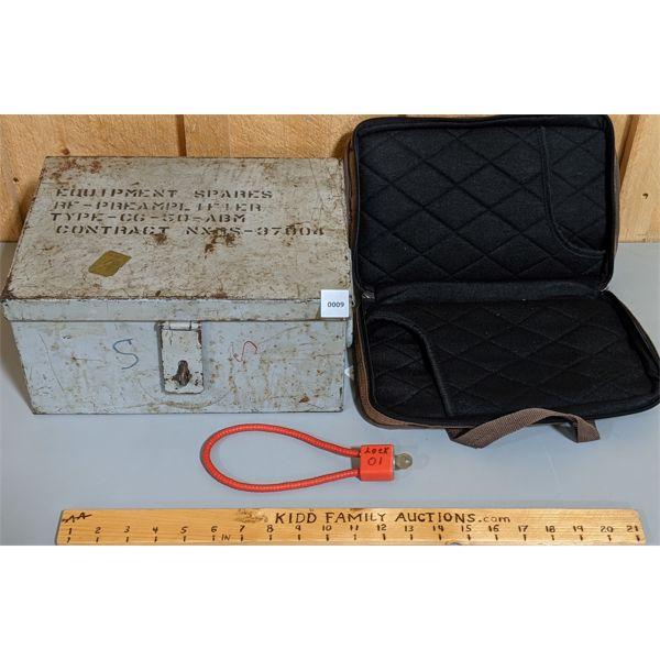 LOT OF 3 - AMMO BOX, LOCK, AND ALLEN HANDGUN CASE