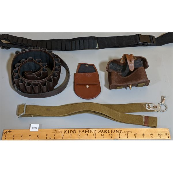 LOT OF 5 - AMMO BELTS, SLINGS, POUCHES ETC