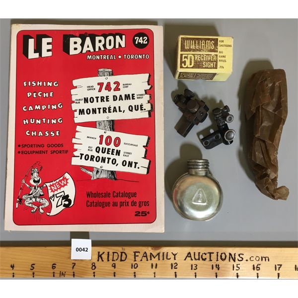 LOT OF 3 - WILLIAM 5D RECEIVER SIGHT & 1973 LE BARON CATALOG & AK47 CLEANING KIT